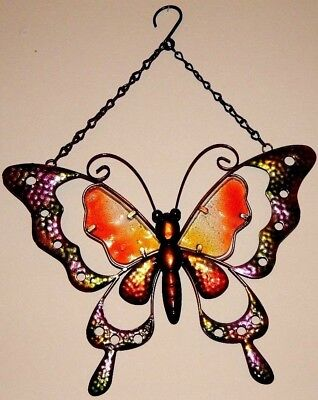 Beautiful Butterfly Burlap on Metal Rustic Antique Style Home Decor Large Size