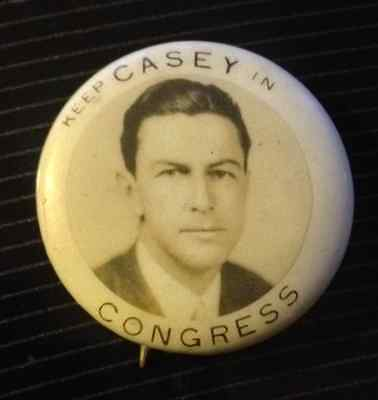 "1936 7/8"" Keep Casey On Congress (Joseph E.casey- Mass) Picture Pin Back"