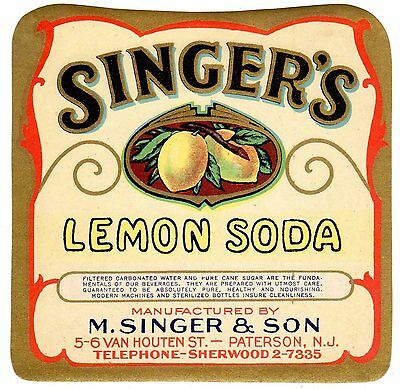 C1930S Singers Soda Bottle Label Lemon Paterson New Jersey Nos Original Bronzed