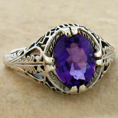 Vintage Antique Style Lab Amethyst .925 Sterling Silver Ring Size 6.75,     #742