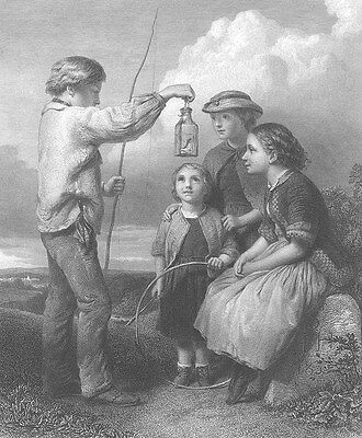 BOY SHOWS CAUGHT LIZARD in Bottle to CUTE Girls ~ Old 1867 Art Print Engraving