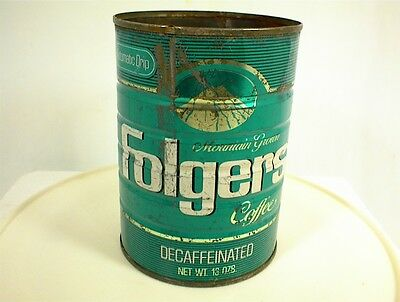 Vintage Folgers Decaffeinated Coffee Can 13 Oz Tin Green Automatic Drip