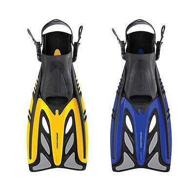 Mirage Crystal Adult Snorkel Dive Fins / Flippers Yellow and Blue, S/M L/XL