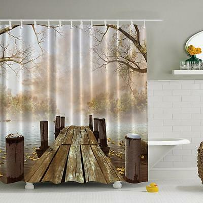 Beautiful Wooden bridge Scenery Shower Curtain Bathroom Waterproof Fabric