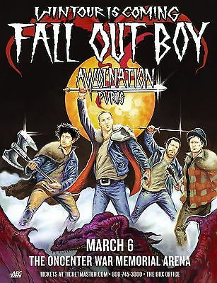 """Fall Out Boy / Awolnation/pvris """"wintour Is Coming"""" 2011 Syracuse Concert Poster"""