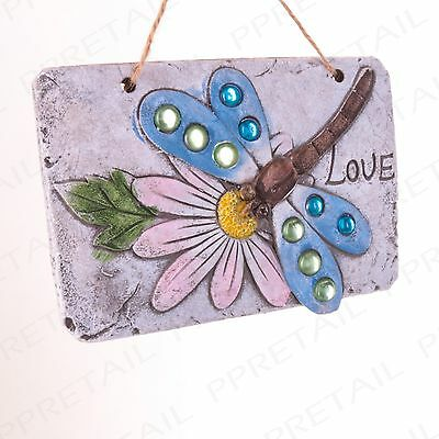 PACK OF 3 ASSORTED GARDEN PLAQUES Bee/Butterfly/Dragonfly Home Door/Gate Sign