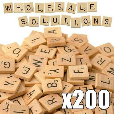 Scrabble Tiles x 200 Wooden Black Letter Wood Craft Alphabet Board Games