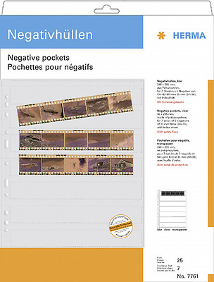 Herma Negative Pockets Pp Clear 25 Sheets/5-Strips 7761 New