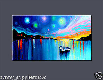 "Large Modern Abstract Art Oil Painting On canvas Wall Deco ""Boat"" No Frame"