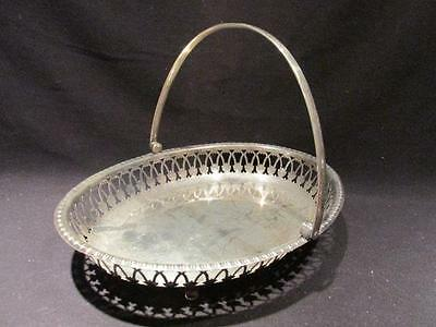 Silverplate Vintage Handled & Footed Basket with Open Design on Sides
