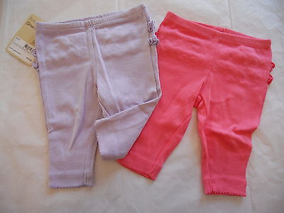 CARTER'S 2 Pack BABY GIRLS PANTS NEWBORN CORAL & LIGHT PURPLE WITH RUFFLE NWT