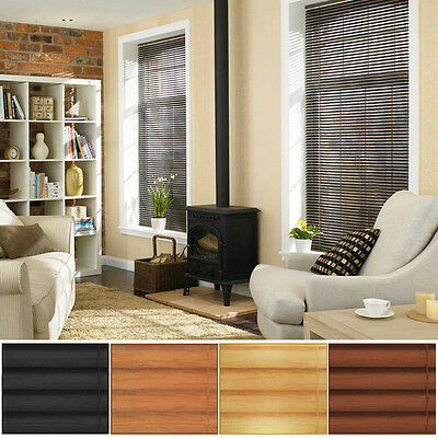 Trimmable Wood Effect Pvc Venetian Blind - Many Sizes & Colours - 3 Drop Options
