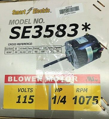 1/4 HP SE3583  3583 Furnace Blower Motor-115V-1075 RPM- Smart Electric 3.6 AMP