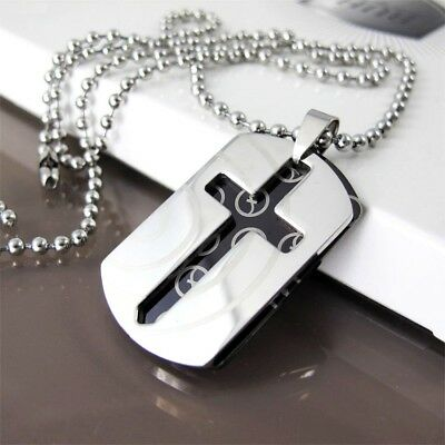 """Army Military Dog Tags Silver Black Cross Pendant Mens Necklace 24"""" Ball Chain"""