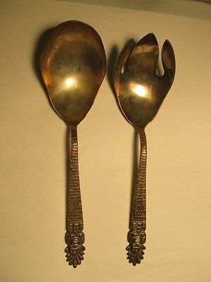 South American? Salad Set  0.900 Silver Native Figural Handle  Excellent Cond
