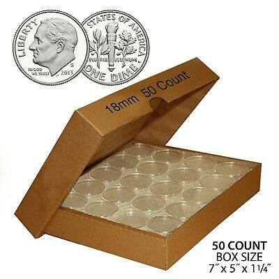 DIME Direct-Fit Airtight 18MM A18 Coin Capsule Holders For DIMES (QTY: 50) w/BOX