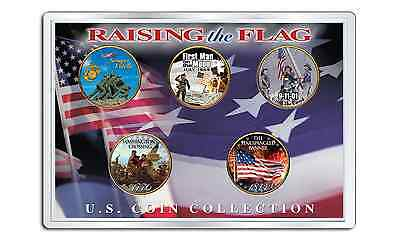 RAISING THE FLAG 1976 Bicentennial Quarters 24K Gold Plated Colorized 5-COIN Set