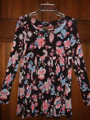 NWT ~ JUSTICE multi-colored floral soft knit top w/ back cut-out ~ girls 10