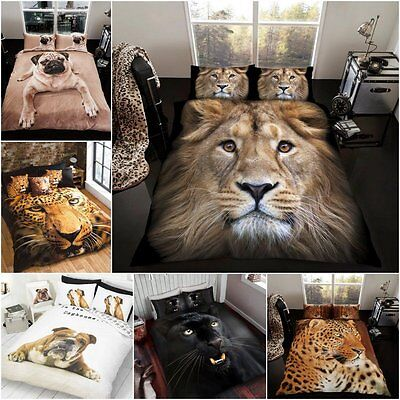 Animal 3D Duvet Quilt Cover Bedding Set Single Double King Size Gift Present