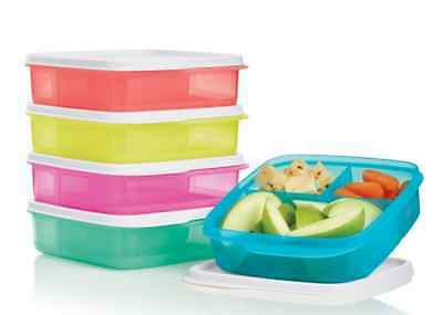 Tupperware Lunch-It Divided Square Lunch Boxes Snacks Sandwich 5 w/ Seals New
