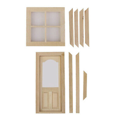 Wooden 4 Pane Window and Internal Door w/ Frame Dolls House Miniature Accs 1:12