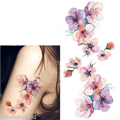 Waterproof Temporary Tattoo Sticker Watercolor Orchid DIY Arm Body Art Decal
