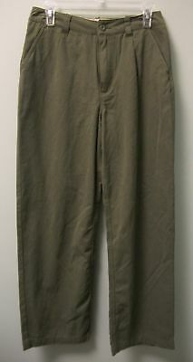 EDDIE BAUER Boys Olive Green Khakis Casual Pleated Cotton Pants      18   NEW