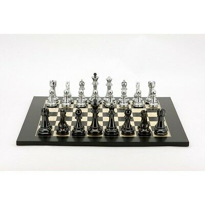 Dal Rossi Silver and Black Titanium Chess Set on Board