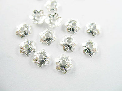 925 Sterling Silver 40 Dot Print Bead Caps 5mm.