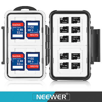 Neewer Memory Card Case Holder for 10 Micro SD Cards 4 SD Cards 2 CF Cards