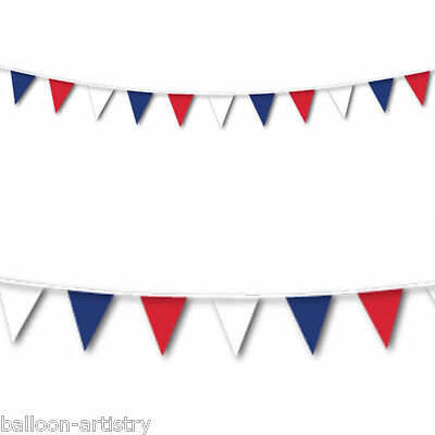 7m France French Party Red White Blue Pennant Banner Bunting Decoration