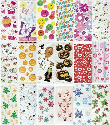CELLOPHANE PARTY (Loot) BAGS - Patterns/Themes & Halloween/Xmas/Birthday