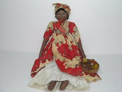 Vintage Trinidad Black Americana Doll With Fruit Basket For Top Of Head