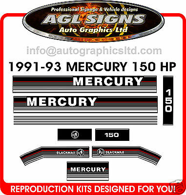 1991 - 1993  MERCURY 150 OUTBOARD DECALS , 135 hp also available