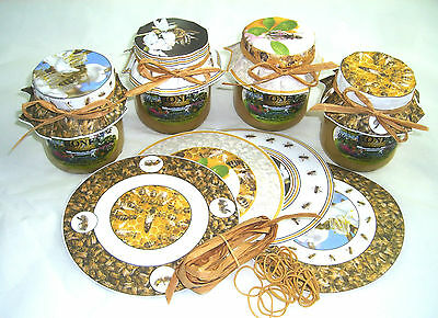 40 x Beekeeping HONEY JAR PAPERS - complete with rubber bands (10 of each) • EUR 4,36