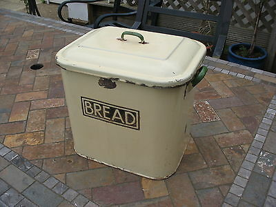 Rare authentic accent lettering old vintage enamel bread bin in Yellow by JURY