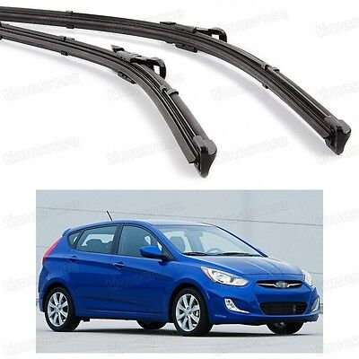2Pcs Car Front Windshield Wiper Blade Bracketless for Hyundai Accent 2012-2016