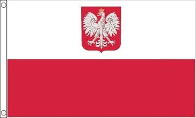 NEW 5 x 3 FOOT (150x90cm) POLAND WITH EAGLE CREST POLISH POLSKA  FLAG