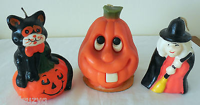 Lot of 3 Vintage Halloween Candles Witch Pumpkin Black Cat Unused NOS