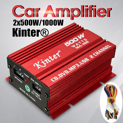 500W 12V Hi-Fi 2 CH Channel Stereo Audio Amplifier Amp Subwoofer Car Motorcycle
