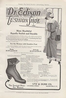 1912 Utz & Dunn Co Rochester NY Ad: Dr Edison Cushion Shoe Boots Oxfords