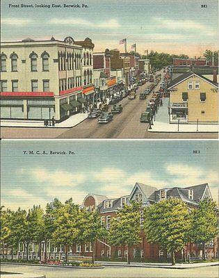 Lot of 2 Old Postcards - Front Street and YMCA Berwick Pennsylvania