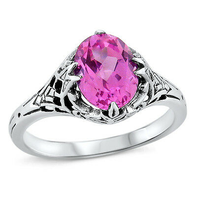 Pink Lab Sapphire Antique Deco Style 925 Sterling Silver Ring Size 6.75,#450