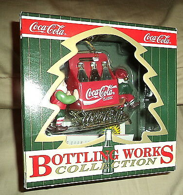 "Coca-Cola Bottling Works Collection Christmas Ornament  ""Coke on Sled"""