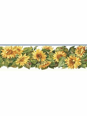 Sunflower with Lady Bugs Wallpaper Border KB206608D