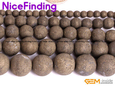 Wholesale Lot Frost Matte Pyrite Round Beads For Jewelry Making 15''DIY 4mm-12mm