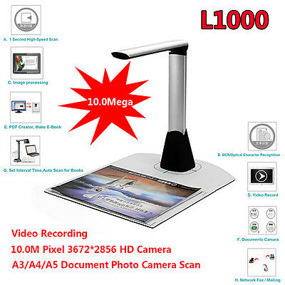 Portable High-Speed A3 A4 A5 Document Photo Book ID Video Cam Scanner visualizer