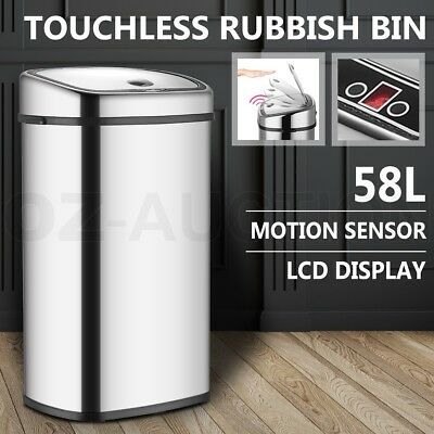 58L Stainless Steel Automatic Infrared Motion Sensor Rubbish Kitchen Office Bin