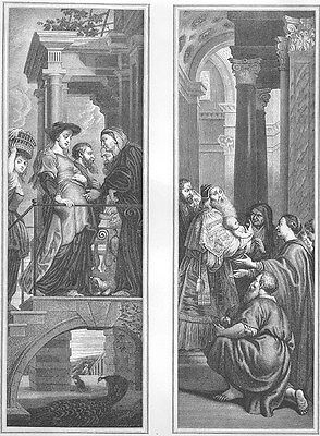 PREGNANT MARY & Baby JESUS CHRIST ~ Old 1862 Bible Religion Art Print Engraving