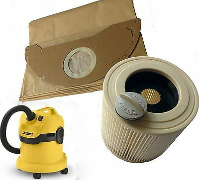 for Karcher Wet & Dry WD2 WD3.500 Vacuum Cleaner Filter & 10 Dust Hoover Bags
